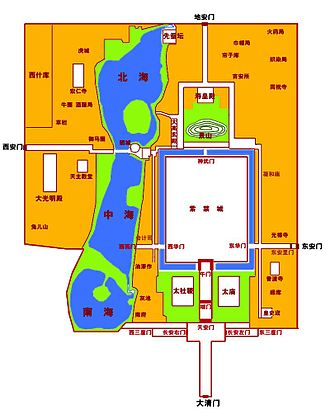 Imperial City, Beijing - Outline of Beijing's Imperial City. The large white space on the right is the Forbidden City.