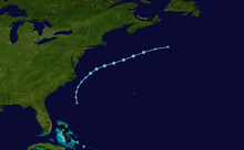 Map of a path across the western Atlantic Ocean, near the East Coast of the United States. Most of the eastern part of the United States, the northern Caribbean islands and Atlantic Canada can be seen in the image.