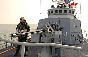 Cyclone-class patrol ship - One of two 25mm autocannons carried by the Cyclone-class patrol ships (USS Chinook shown)