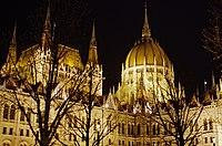 03 2019 photo Paolo Villa - F0197916 - Budapest - Parlamento - notte - luci - alberi - cupola - Neomedievalismo Neogotico.jpg