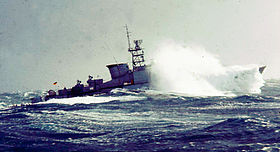 Frigate Lübeck (F 224) in 1975 in the Bay of Biscay