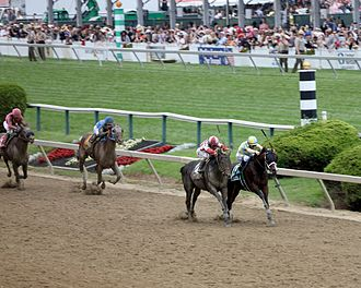 Cloud Computing (horse) - Cloud Computing (on the outside) closes ground on Classic Empire as they near the finish line