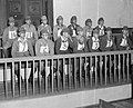 14 Japanese prisoners on 22 March 1946 at the first war crimes trial in Rangoon were charged with murder of 637 civilians in the village of Kalagon, from- Burma War Crimes Trial (cropped).jpg
