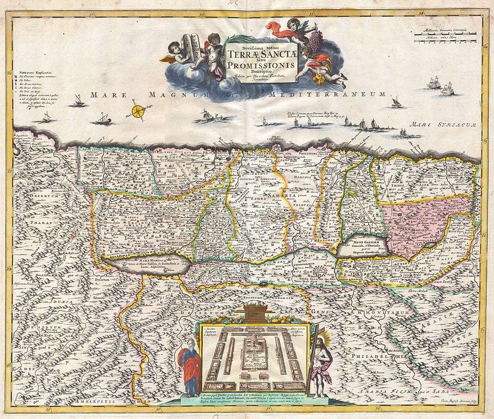 1720 Funck Map of Israel - Palestine - Holy Land - Geographicus - TerraeSanctae-funck-1720