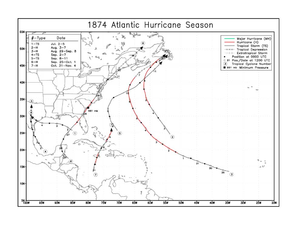 1874 Atlantic hurricane season - Image: 1874 Atlantic hurricane season map