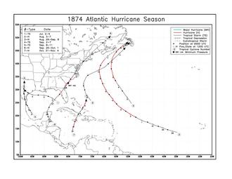 1874 Atlantic hurricane season - Image: 1874 Atlantic hurricane season map