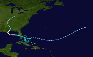 1901 Louisiana hurricane - Image: 1901 Atlantic hurricane 4 track