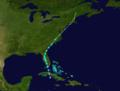 1916 Atlantic tropical storm 1 track.png