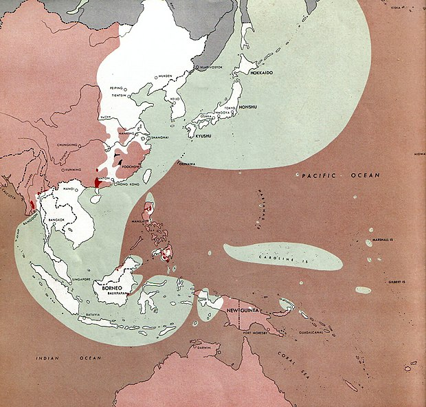 Situation of the Pacific War on August 1, 1945. Areas still controlled by Japan (in white and green) included Korea, Taiwan, Indochina, and much of China, including most of the main cities, and the Dutch East Indies. Allied-held areas are in red, with the neutral Soviet Union and Mongolia in grey. 1945-08-01JapWW2BattlefrontAtlas.jpg