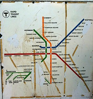 Washington Street Elevated - Old MBTA map showing the Washington Street Elevated route, as it existed from 1938 to 1975