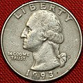 1993 US Quarter Washington Head Philadelphia Mint (5135148241).jpg