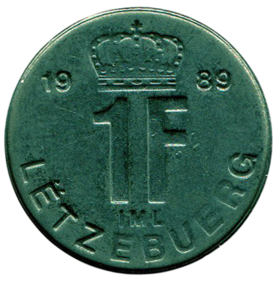 1 franc Luxembourg Jean I (1989)-revers.png