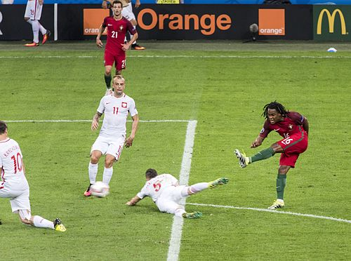 Portugal against Poland in the UEFA Euro 2016 Quarterfinal match 1 renato sanches 2016.jpg