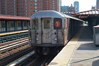 IRT Broadway–Seventh Avenue Line - A 1 train in service at 125th Street along part of the route of the Original Subway.