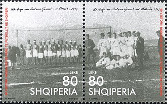 KF Vllaznia Shkodër - A 2003 postal stamp dedicated to the 1913 match between Austro-Hungarian Navy and Indipendenca Shkodër teams