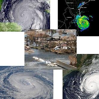 2005 Atlantic hurricane season statistics - A collage of several storms during the 2005 season
