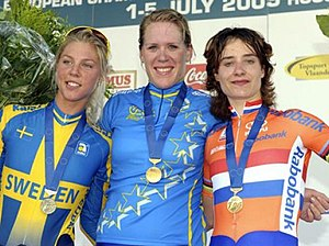 European Road Championships - Ellen van Dijk won the women's time trial again in 2009, ahead of Emilia Fahlin and Marianne Vos