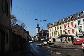 Hauptstrasse von Huttwil mit Kirche