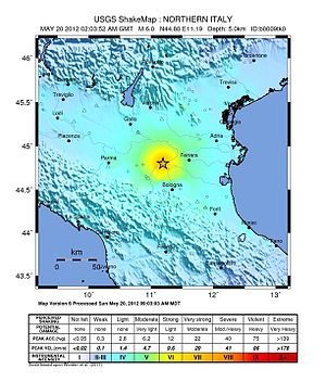 2012 Northern Italy earthquakes - Image: 2012 Modena intensity