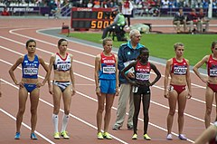 Picture of Pavey (second left) lining up at the start of the 5000 metres at the 2012 Summer Olympics in London
