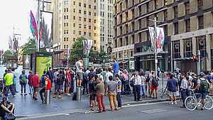 2014 Sydney hostage crisis - Onlookers in Martin Place during the siege of the Lindt Café