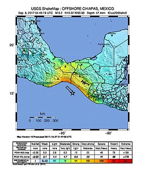 2017 Chiapas earthquake - Image: 2017 Intensity of the earthquake in Mexico (Chiapas)