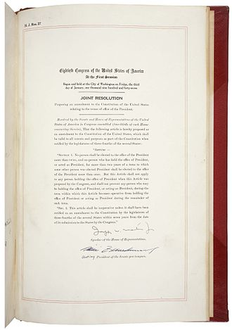 Twenty-second Amendment to the United States Constitution - Amendment XXII in the National Archives