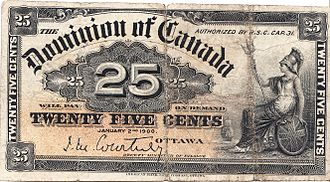 Banknotes of the Canadian dollar - 25-cent Dominion of Canada note issued in 1900