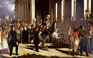3 September 1843 Revolution - The coup. Dimitrios Kallergis on horseback, Otto and Amalia at the windows of the Old Royal Palace.
