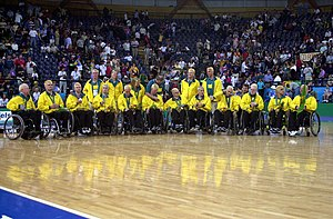"Australia national wheelchair rugby team - Silver medal winning Australian wheelchair rugby ""Steelers"" at their medal presentation ceremony at the 2000 Sydney Paralympic Games"