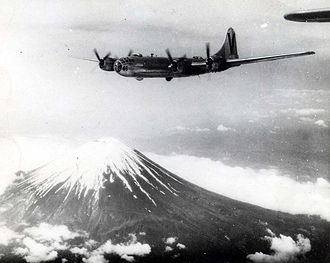 499th Air Refueling Wing - 499th Bomb Group B-29 Superfortress over Mount Fuji in 1945.