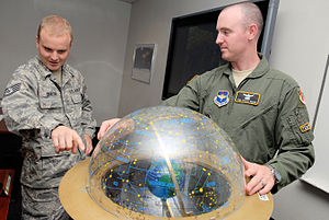 533d Training Squadron - A 533rd Training Squadron student shows an instructor a point used to see the apparent path the sun takes through the stars