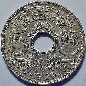 "French sol - The last ""sou"" : 1939, French five centimes (actual Ø: 19 mm)"