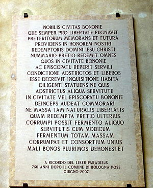 "Liber Paradisus - Plaque for the 750° anniversary with a citation of the ""Liber Paradisus"" at Palazzo d'Accursio, Bologna."