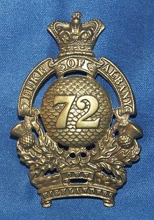 72nd Regiment, Duke of Albany's Own Highlanders - Regimental cap badge