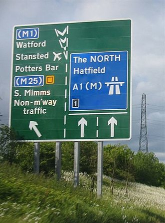 Great North Road (Great Britain) - The A1 at South Mimms, Hertfordshire, approaching Junction 1 with the M25 and A1(M)