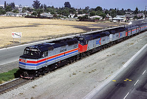 Amtrak paint schemes - An EMD F40PH in Phase II livery. The two EMD SDP40Fs are still in Phase I.