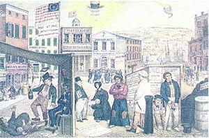 Whig campaign poster blames Van Buren for hard times (1840).