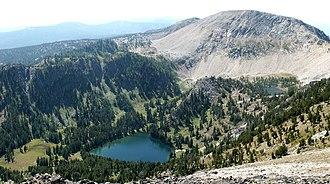 Anaconda Range - Oreamnos Lake and West Pintler Peak, looking west from the ridge near East Pintler Peak