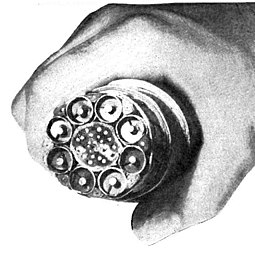 AT&T coaxial cable trunkline installed between East Coast and Midwest in 1948. Each of the 8 coaxial subcables could carry 480 telephone calls or one television channel. AT&T coaxial trunkline 1949.jpg