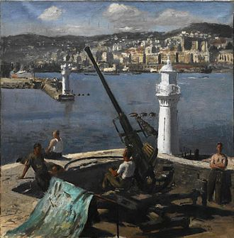 Henry Carr (artist) - A Bofors Gun, Algiers (Art.IWM ART LD 2964)