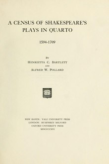 A Census of Shakespeare's Plays in Quarto (1916).djvu