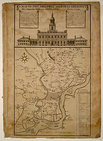 A Map of Philadelphia and Parts Adjacent, depicting the State House as it appeared in 1752.