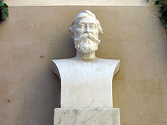 Stone bust of a bearded man