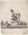 A horseman atop a rearing horse, in profile and turned towards the right, gardens in the background, from 'Various cavalry exercises' (Diverses exercices de cavalerie) MET DP833133.jpg