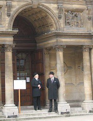 "Oxford University Police - Two ""Proctors Officers"" outside the Examination Schools in 2009"