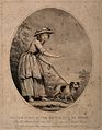 A shoeless blind girl is led by a dog on a path. Stipple eng Wellcome V0015906.jpg