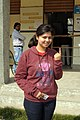 A young voter showing mark of indelible ink after casting her vote, at a polling booth, during the Delhi Assembly Election, in New Delhi on February 07, 2015.jpg