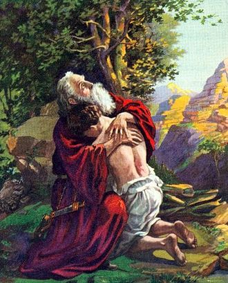 Isaac embraces his father Abraham after the Binding of Isaac. Early 1900s Bible illustration. AbrahamIsaac.jpg