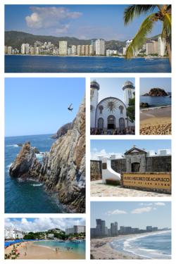 Top, from left to right: Acapulco Bay, La Quebrada, Our Lady of Solitude Cathedral, Isla El Morro at La Condesa beach, Fort of San Diego, Caleta y Caletilla, and Hotels in Diamante.